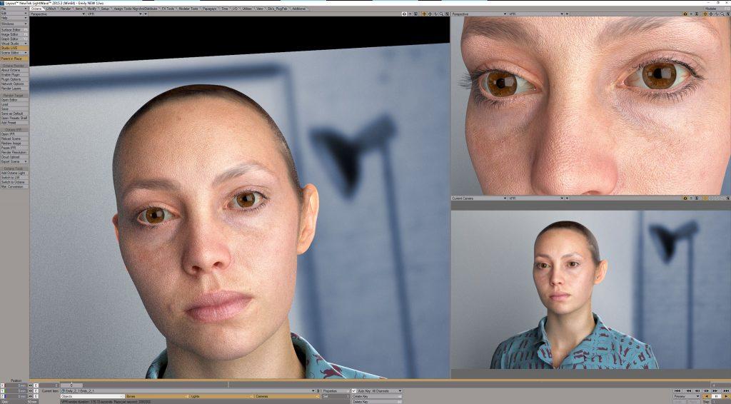 skin shader, realistyczna postać 3D, SSS, Skin 3D.